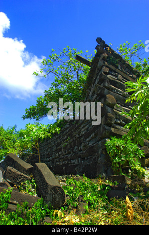 Ruines of Nan Madol Caroline Islands Senyavin Islands Pacific Pohnpei Micronesia - Stock Photo