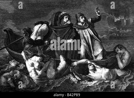 Dante, Alighieri, 1265 - 14.9.1321, Italian poet, works, 'Divine Comedy', Dante and Virgil in the hell with the - Stock Photo