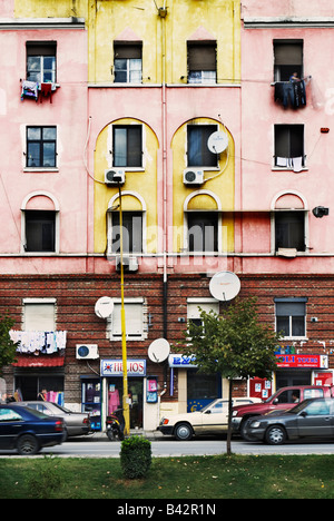 Apartment block in Tirana, albania - Stock Photo