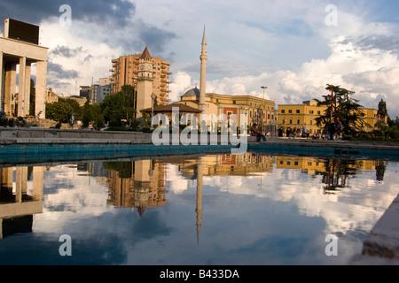 Ethem Bey Mosque on Skendenbeg Square, Tirana, Albania - Stock Photo