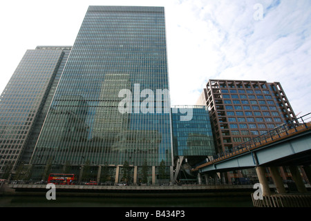 Lehman Brothers building London Bank Street Canary Wharf Docklands financial banking area district London UK head - Stock Photo