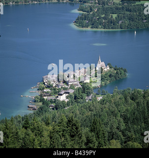 geography / travel, Austria, Carinthia, Maria Woerth, view of the place and 'Woerthersee', view from 'Pyramidenkogel', - Stock Photo