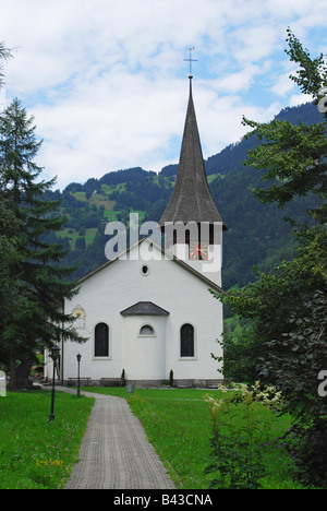 church in Lauterbrunnen Jungfrau region Bernese Canton Switzerland - Stock Photo
