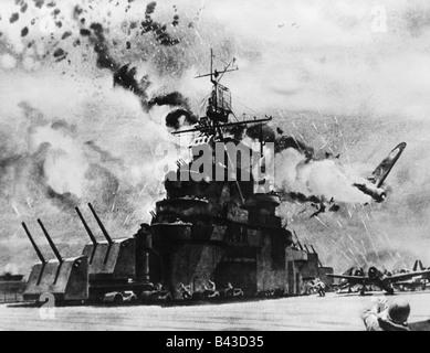 events, Second World War / WW II, Pacific, Santa Cruz Island, Japanese plane attacking the aircraft carrier 'USS - Stock Photo