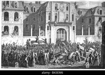 geography/travel, France, Revolution 1789 - 1799, looting of Maison da Saint Lazare, Paris, 13.7.1789, contemporary - Stock Photo