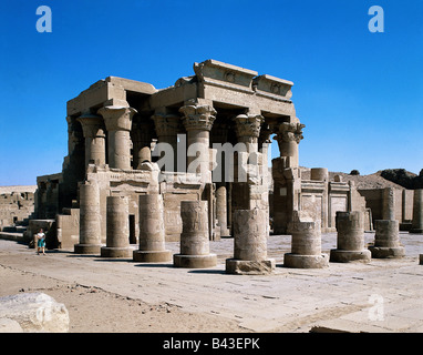 geography / travel, Egypt, Kom Ombo, Temple, Sobek and Haroeris, twin temple, sanctuary, religion, ruin, columns, - Stock Photo