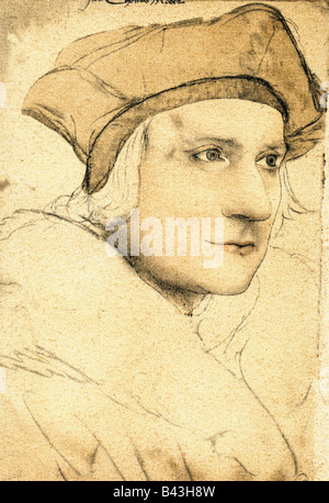 More, Thomas, 7.2. 1478 - 6.7.1535, English philosopher and politician, portrait, drawing by Hans Holbein the Younger - Stock Photo