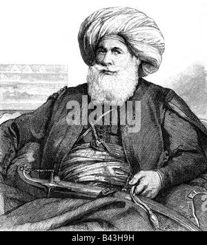 Muhammad Ali Pasha, 1769 - 12.8.1849, Khedive of Egypt  13.2.1841 - 12.8.1849, half length, steel engraving by Blanchard, - Stock Photo