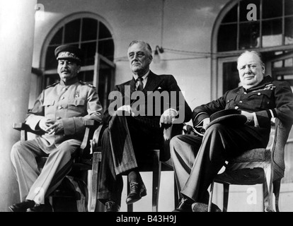 events, Second World War / WWII, conferences, Tehran Conference, 28.11.1943 - 1.12.1943, Joseph Stalin (USSR), Franklin - Stock Photo