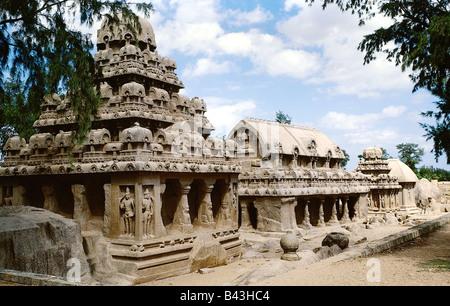 geography / travel, India, Tamilnadu, Mahabalipuram (Mamallapuram), four shrines, shrine, Pallava, temples, temple, - Stock Photo
