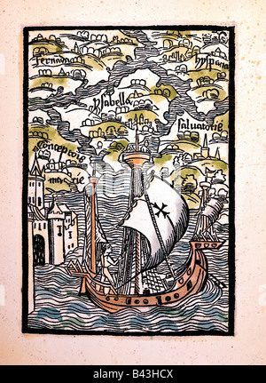 Columbus, Christopher, 1451 - 20.5.1506, Italian explorer, scene, arriving at Caribbean islands, printed by Michael - Stock Photo