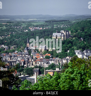 geography / travel, Germany, Hesse, Marburg, River Lahn, overviews, , Additional-Rights-Clearance-Info-Not-Available Stock Photo