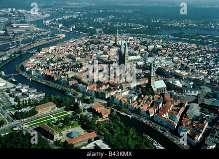 geography / travel, Germany, Schleswig-Holstein, Lubeck, city views, cityscape view of the old town with Holstentor, - Stock Photo