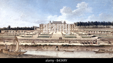 geography / travel, France, castles, Chateau Menars, exterior view with river Loire, coloured engraving, 18th century, - Stock Photo