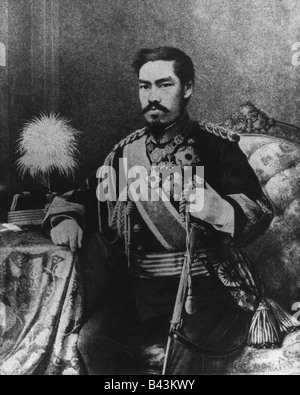 Mutsuhito, 3.11.1852 - 30.7.1912, emperor of Japan, half-length, print based on photograph, circa 1880, Additional - Stock Photo