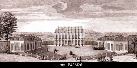 geography / travel, France, castles, Chateau Bellevue, exterior view, engraving by Jean-Baptiste Rigaud circa 1760, - Stock Photo