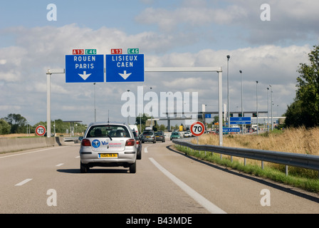 signs on french autoroutes rouen to le mans stock photo 20952809 alamy. Black Bedroom Furniture Sets. Home Design Ideas
