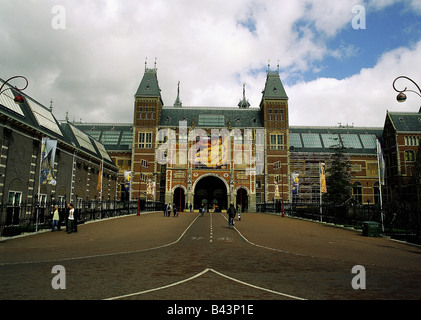 geography / travel, Netherlands, Amsterdam, museums, Rijksmuseum, built 1885 AD, exterior view Museumsplein, museum, - Stock Photo