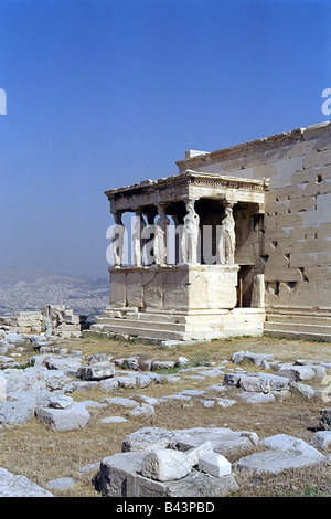 geography / travel, Greece, Athens, acropolis, caryatid hall at the Erechtheion, completed 409 / 406 BC, copies, - Stock Photo