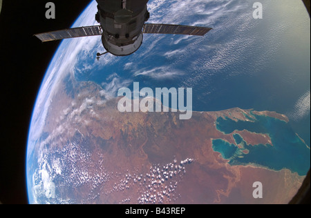 International Space Station and earth - Stock Photo