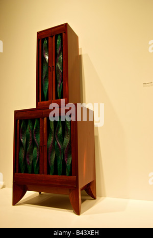 Mahogany hutch wood sculpture Verve 1993 at the Mint Museum of Art Craft and Design Charlotte North Carolina - Stock Photo