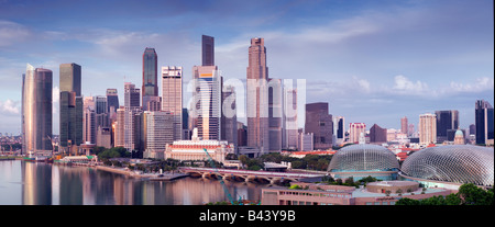 Singapore Skyline viewed at dawn - Stock Photo
