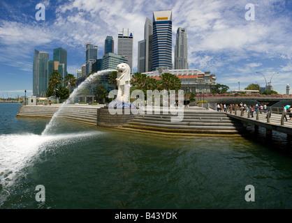 Asia Singapore Singapore Skyline viewed over Merlion park - Stock Photo