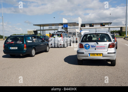 traffic at a toll booth on the a13 in normandy p age a13 autoroute de stock photo royalty free. Black Bedroom Furniture Sets. Home Design Ideas