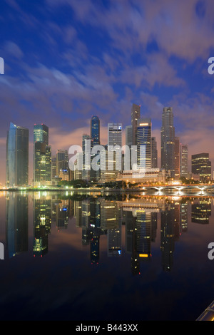 Asia Singapore Skyline Financial district at dusk - Stock Photo