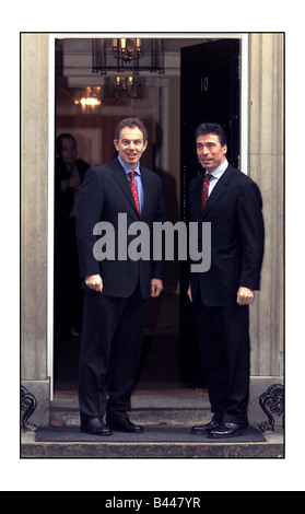 Tony Blair PM December 2002 with Danish Prime Minister Anders Fogh Rasmussen at Downing Street No10 - Stock Photo