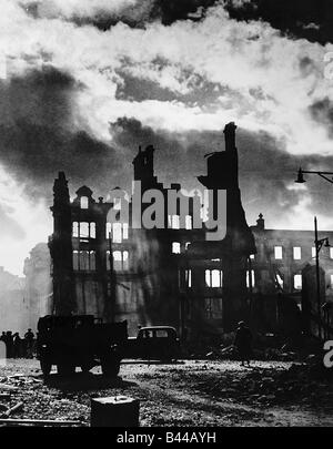 Swansea as dawn breaks after three night blitz attack by the Germans August 1940 1940s - Stock Photo