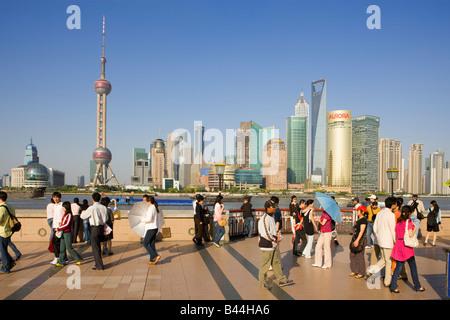 China Shanghai Tourist Shanghai Skyline viewed over the Huangpu river from the Bund - Stock Photo