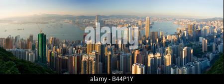 China Hong Kong city viewed from the peak - Stock Photo