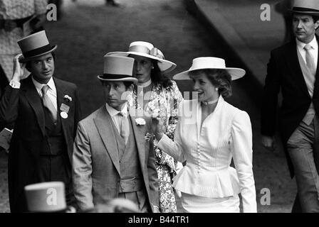Prince Charles and Princess Diana with Oliver Hoare and his wife Diane behind at Royal Ascot horserace meeting June - Stock Photo