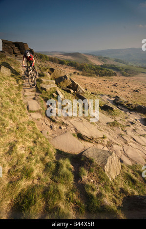 mountain biking in the peak district,derbyshire,UK - Stock Photo