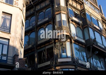 Art Nouveau building housing the 'Musee des Instruments de Musique', 2 rue Montagne de la Cour, Brussels Belgium - Stock Photo