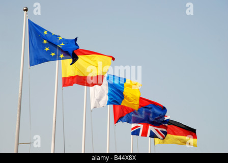 Flags fluttering: Europe, Spain, Canary Islands, Lanzarote Island, United Kingdom and Germany. - Stock Photo