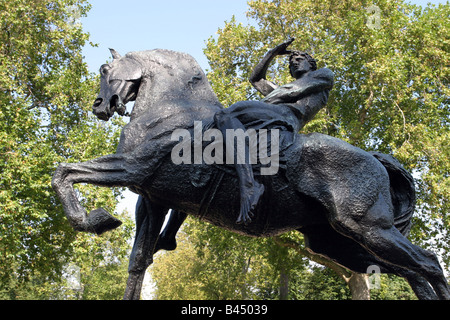 Sculpture Physical Energy by George Frederick Watts RA (1817-1904) Kensington Hyde Park London UK - Stock Photo