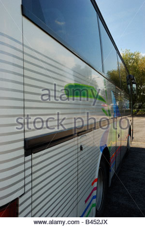 Close up of the reflections on side of a coach - Stock Photo
