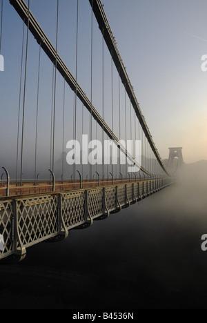 Clifton suspension bridge in Bristol at sunrise - Stock Photo