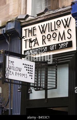 UK Scotland Glasgow Buchanan Street recreated Willow Tearoom exterior sign - Stock Photo