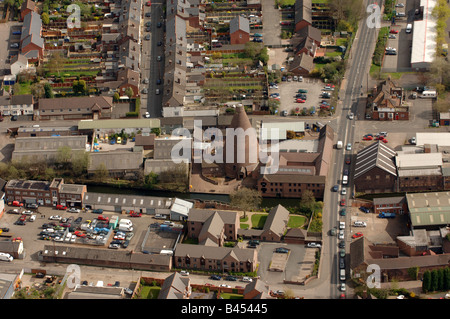 An aerial view of the Red House Glass Cone in Wordsley Stourbridge England - Stock Photo