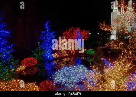 The Mormon Temple in Kensington Maryland surrounded by Christmas lights during the Festival of Lights - Stock Photo