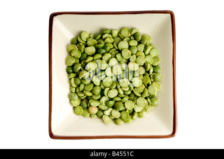 single plate of green split peas - Stock Photo