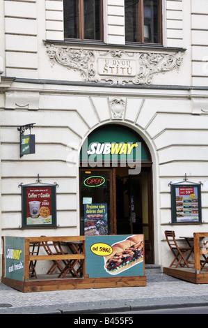 Subway restaurant in Prague Czech Republic - Stock Photo