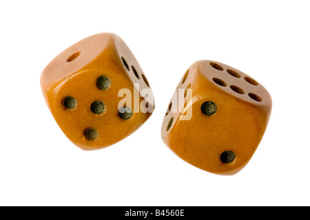 old pair of dice on white - Stock Photo
