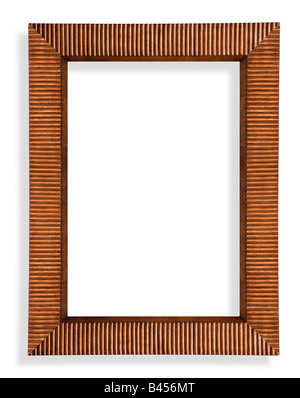 A custom made wooden picture frame silhouetted and with clipping path - Stock Photo