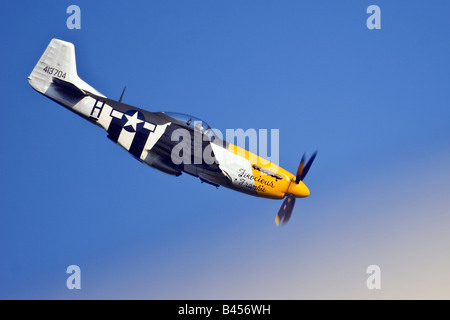 P51 Mustang 'Ferocious Frankie' aircraft display at the Goodwood Revival Sussex United Kingdom Great Britain England - Stock Photo
