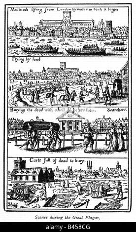 Scenes from the Great Plague 1665 engraving of people fleeing from St Pauls and burying the dead in Covent Garden - Stock Photo