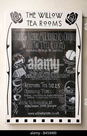 UK Scotland Glasgow Sauchiehall Street Willow Tearoom daily special menu board - Stock Photo